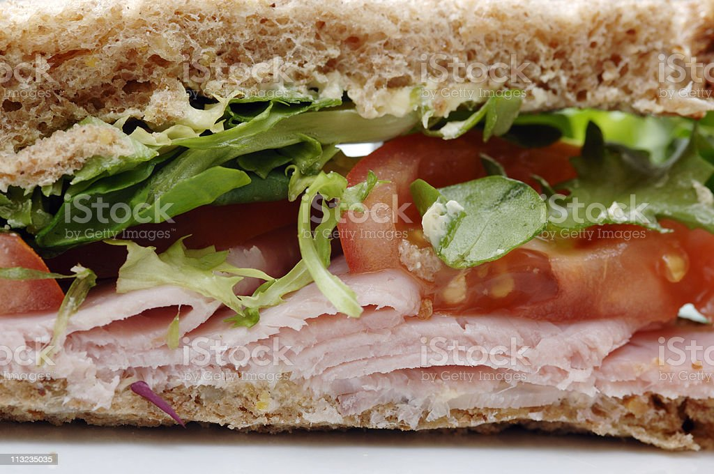 wholemeal ham salad sandwich, healthy lunch royalty-free stock photo