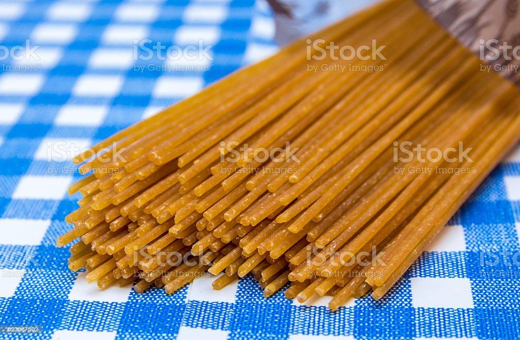 wholemeal spaghetti pasta stock photo