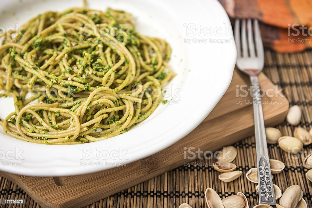 Wholemeal Spaghetti with Ramsons Sauce stock photo