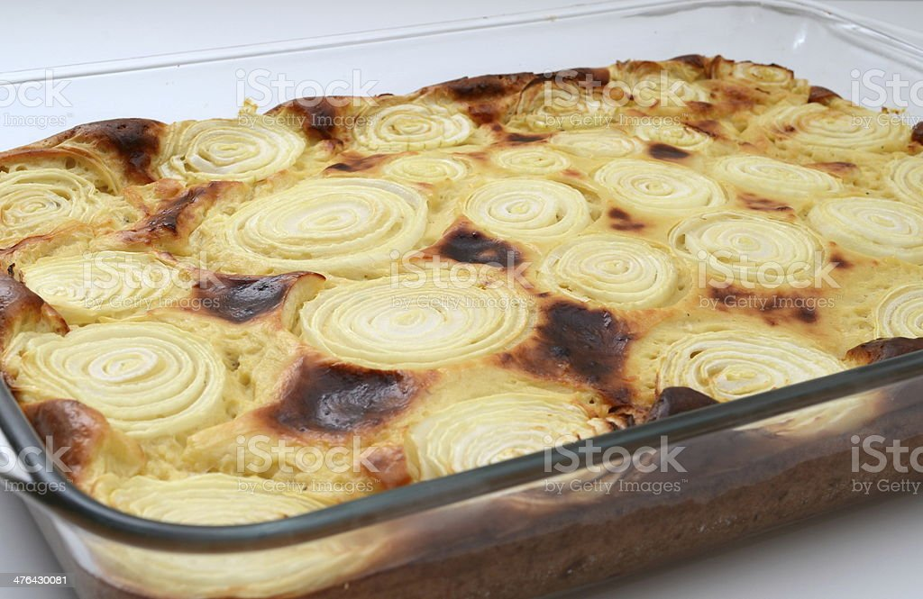 Wholesome cheese and onion quiche royalty-free stock photo