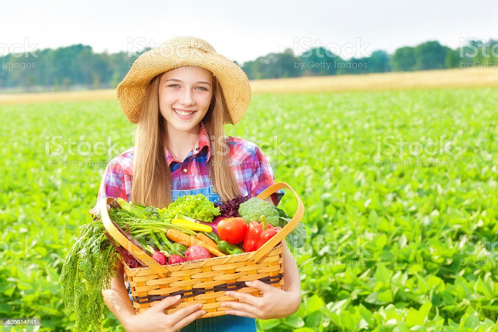 Wholesome Farm Girl Holding Fresh Produce and Vegetable Field Harvest stock photo