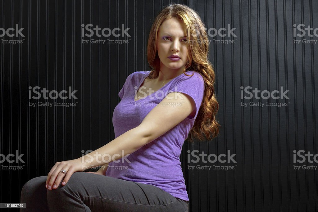 Wholesome girl next door relaxed appearance stock photo