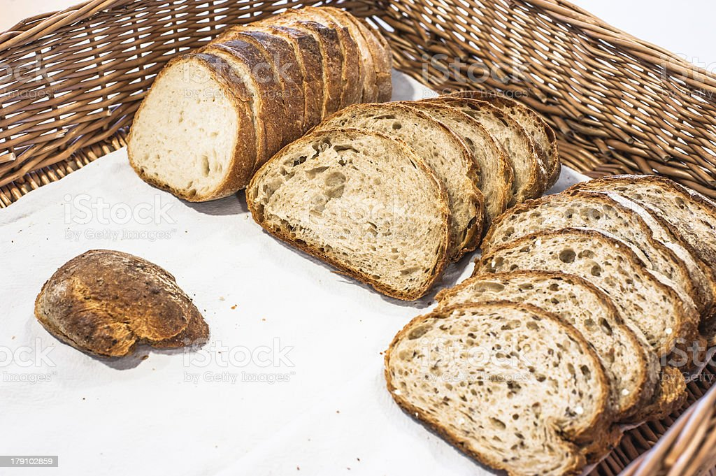 Wholewheat bread in basket royalty-free stock photo