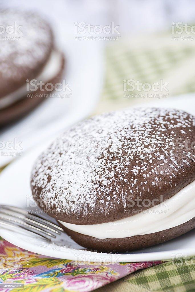 Whoopie pie chocolate cakes stock photo