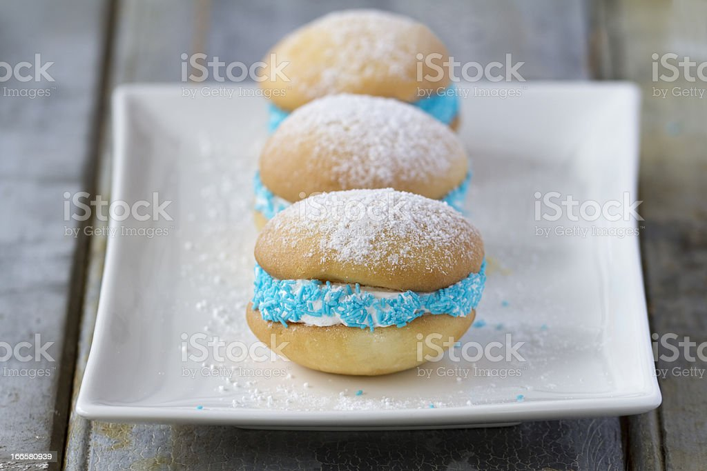 Whoopie pies on rustic background horizontal stock photo