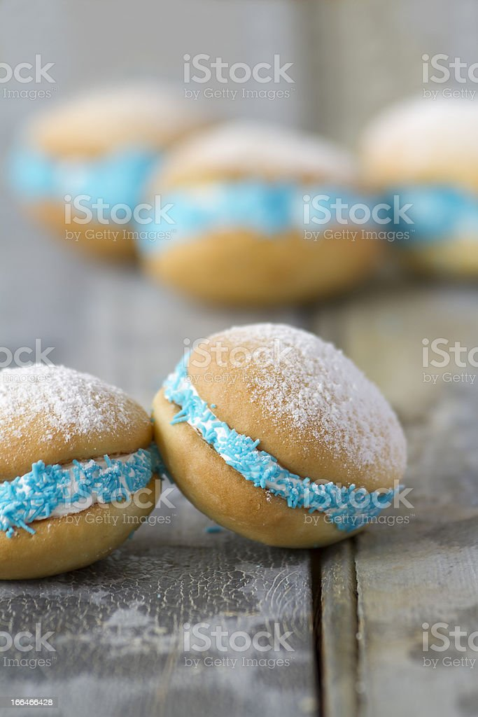 Whoopie pies on rustic background vertical stock photo