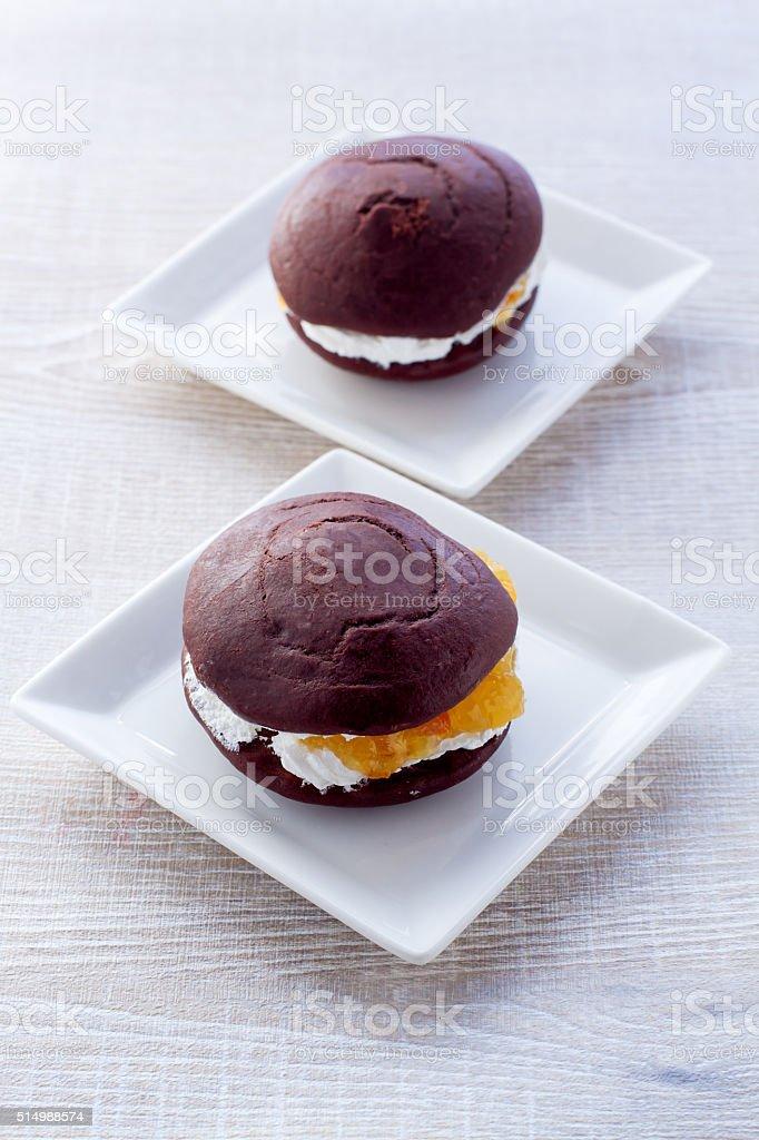Whoopie Pies with cream stock photo