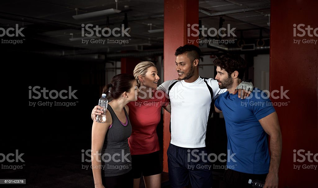 Who's up for one more rep? stock photo