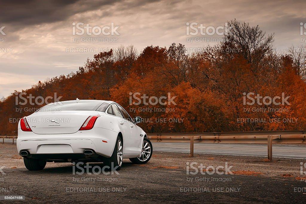 Whtie Jaguar XJ car stay on wet asphalt road stock photo