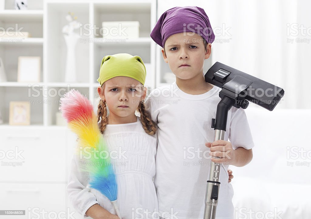 Why do we have to clean our room stock photo