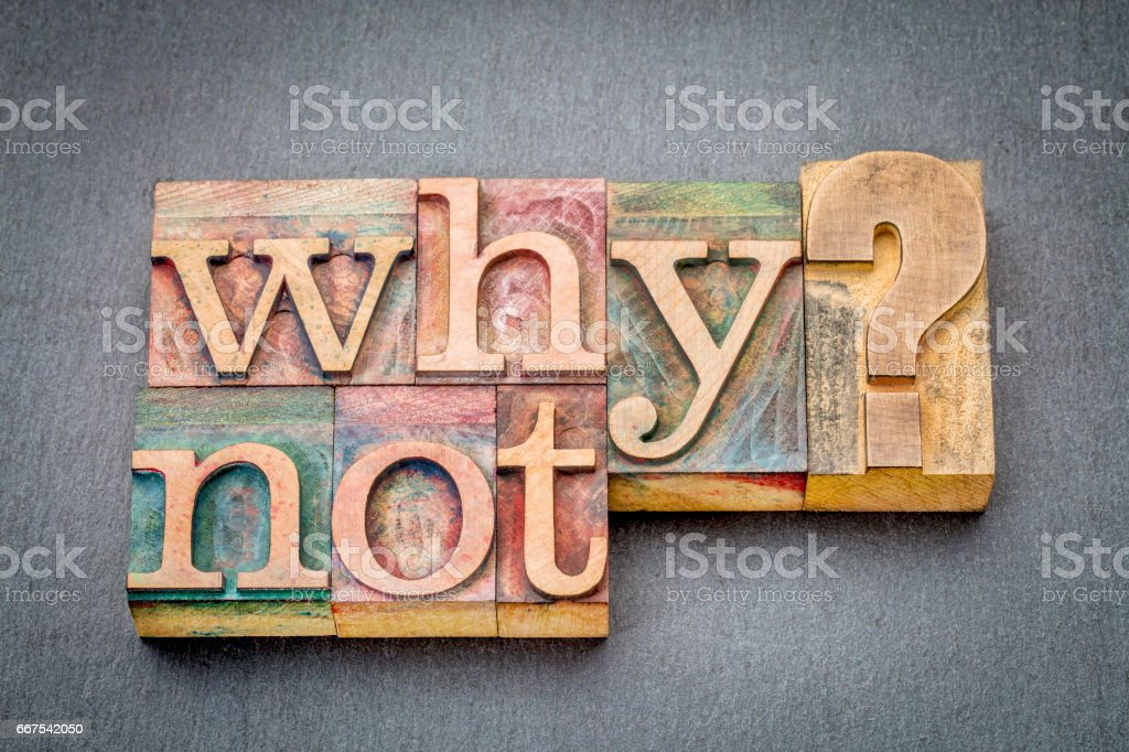 Why not? Question in wood type. stock photo