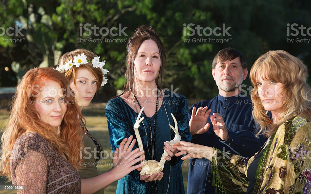Wicca People with Antlers stock photo
