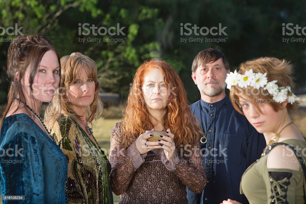 Wicca People with Incense Bowl stock photo