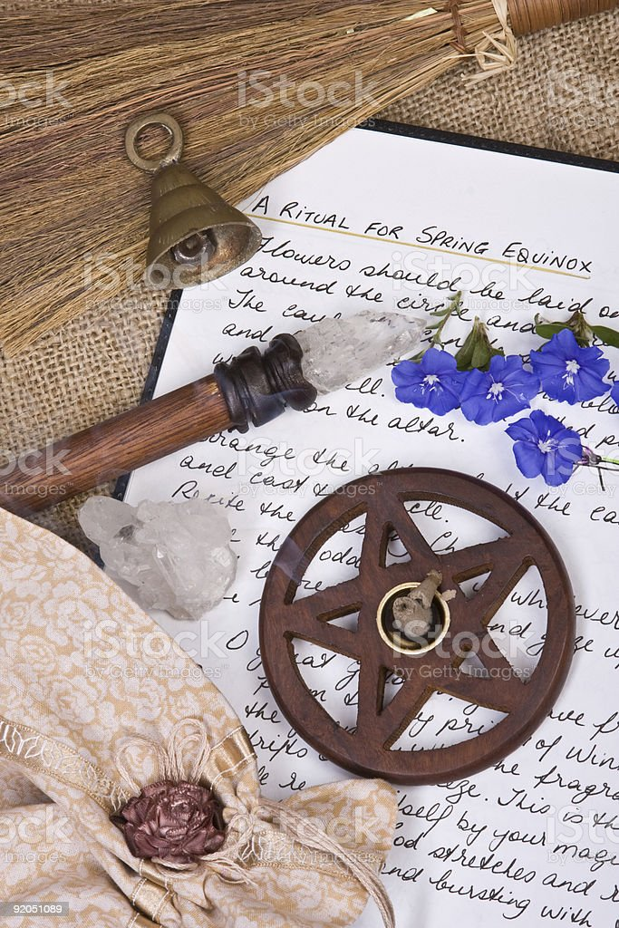 Wiccan Ritual - Spring Equinox stock photo