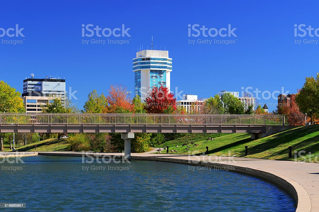 Wichita skyline and waterway stock photo