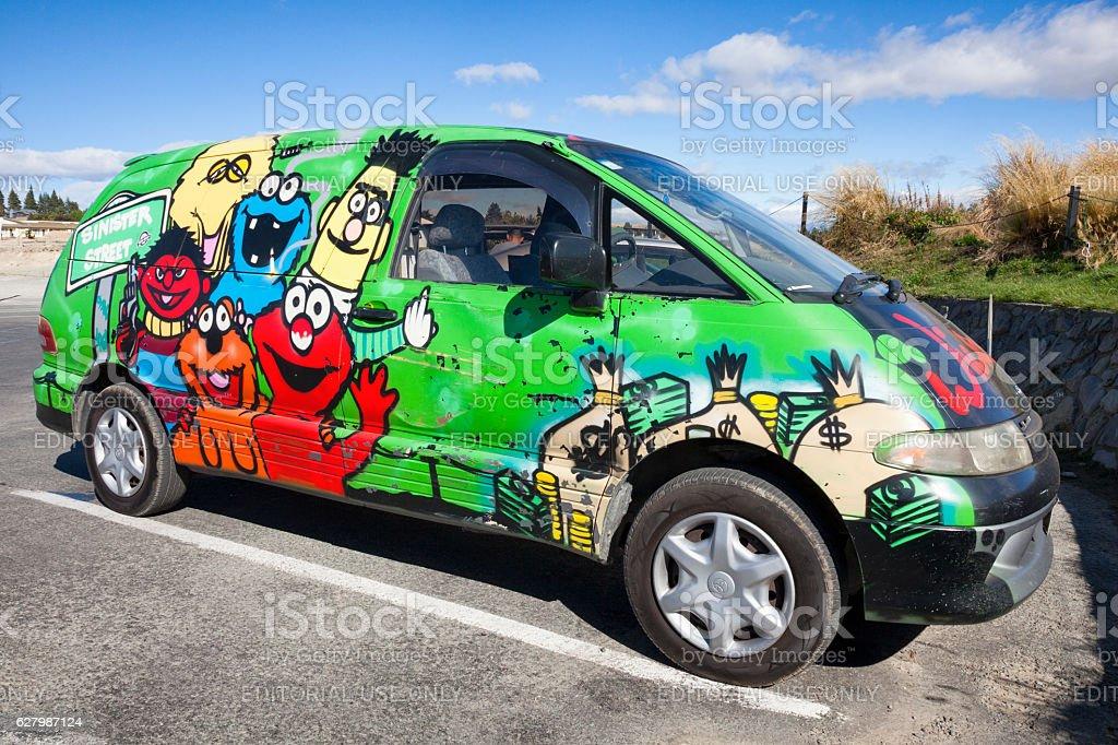 Wicked Campers van in Tekapo, New Zealand stock photo