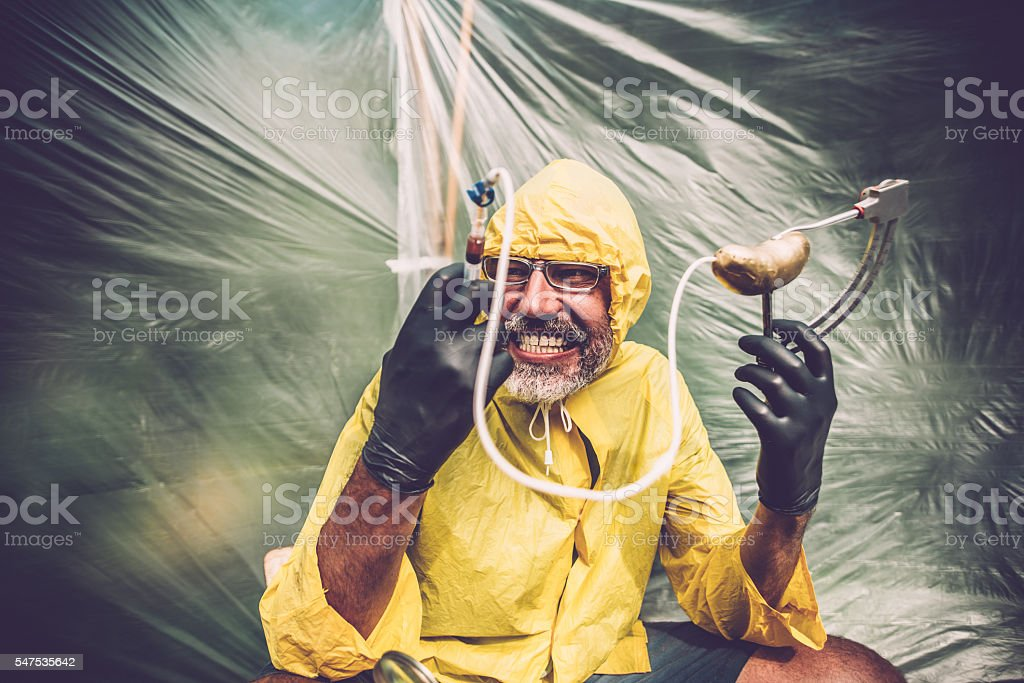 Wicked scientist stock photo