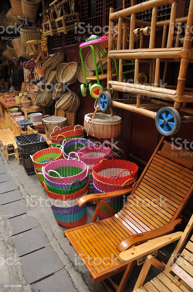 Wicker bamboo basket for sale stock photo