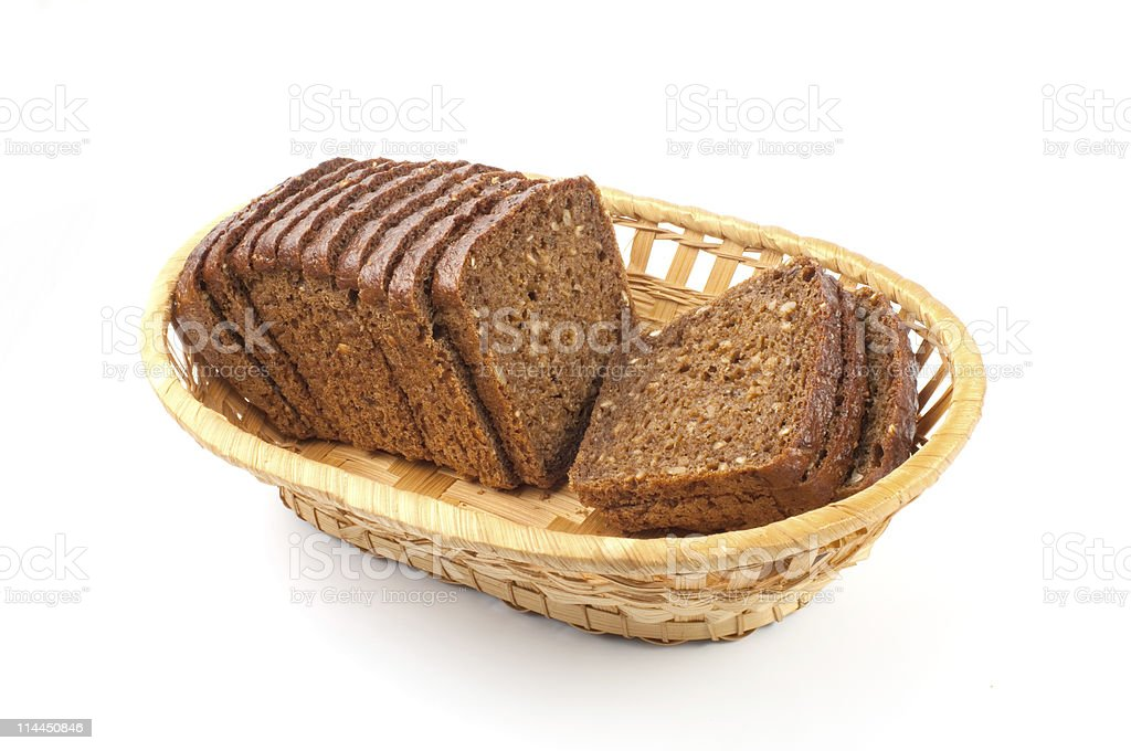 Wicker basket and bread stock photo