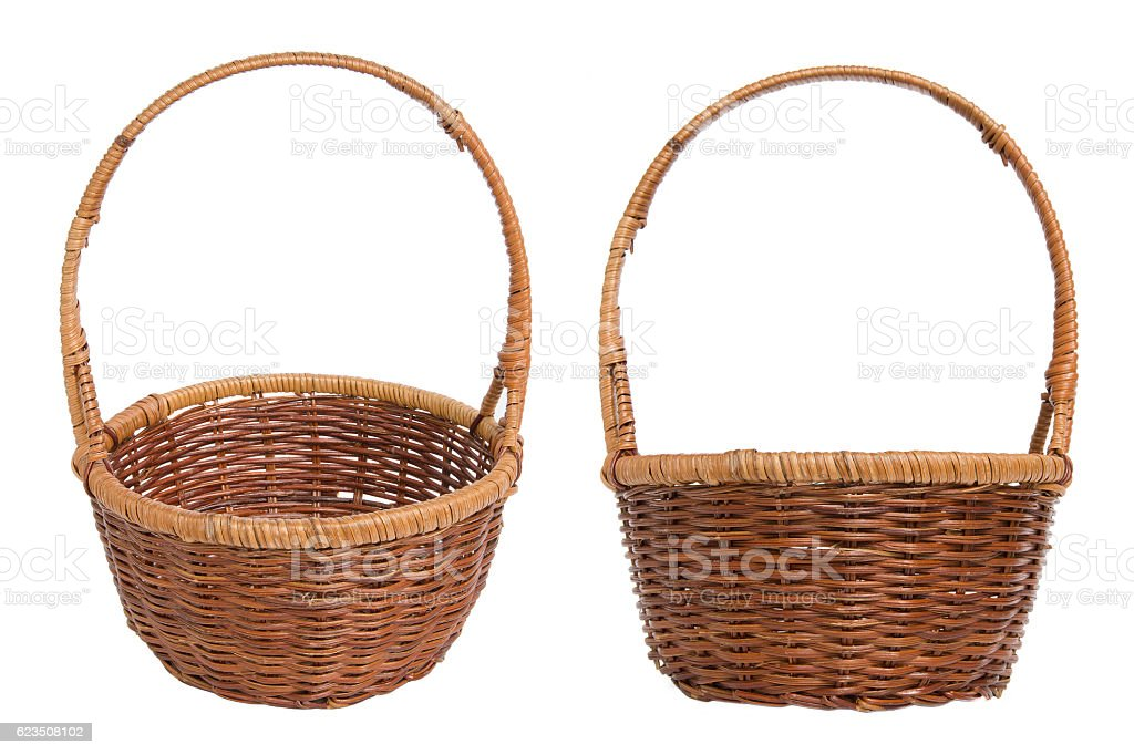 Wicker basket for the food isolated on white background stock photo