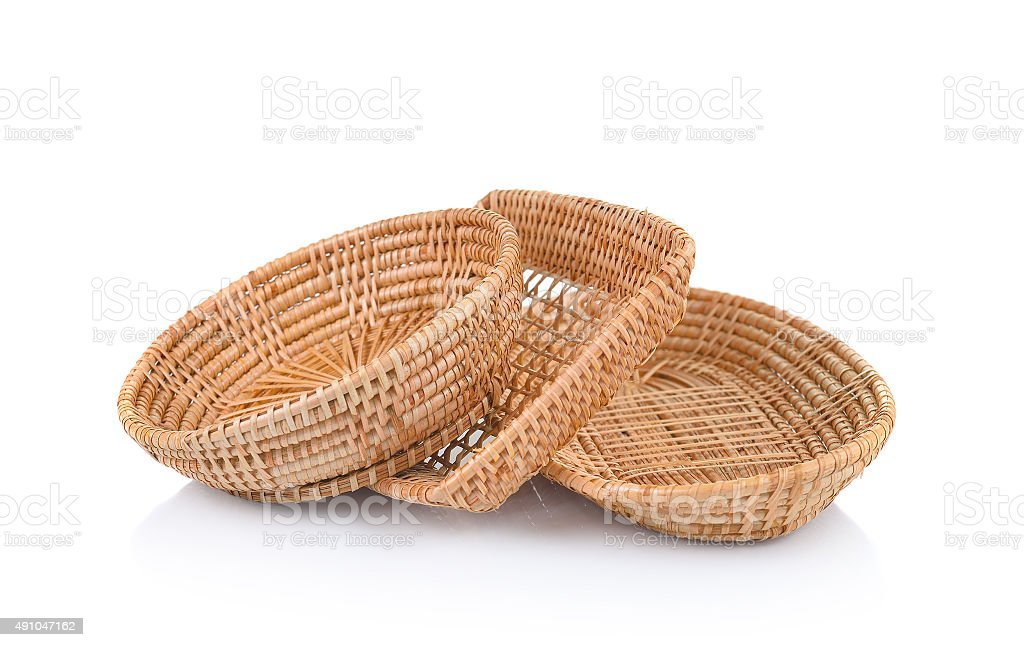 wicker basket isolated on white background stock photo