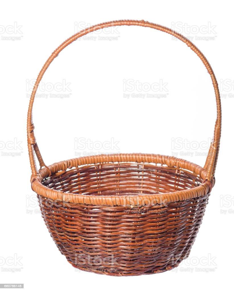 Wicker basket  isolated on white background. stock photo