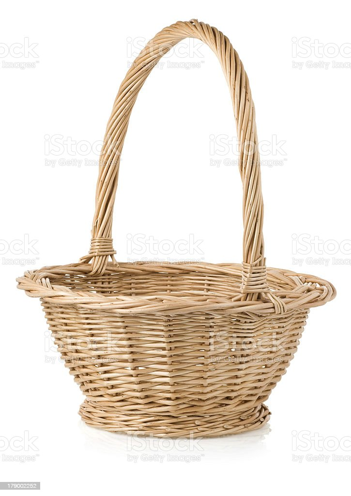 wicker basket isolated on white royalty-free stock photo