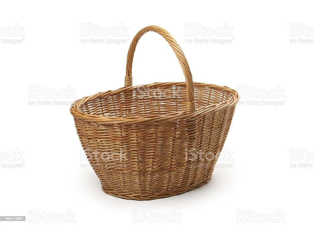 wicker basket, isolated royalty-free stock photo