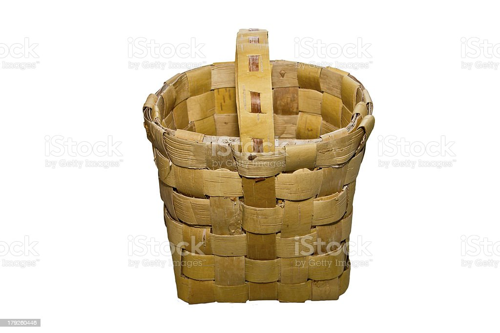 Wicker basket made ​​of birch bark royalty-free stock photo