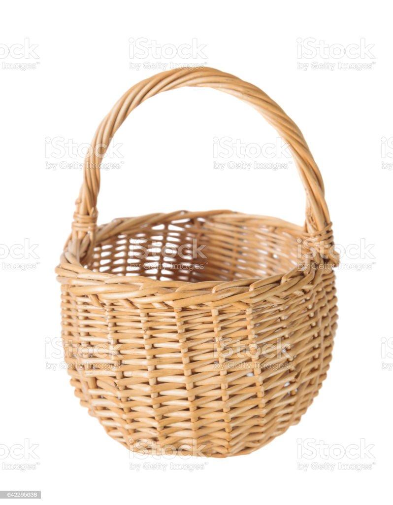 Wicker basket on a white background stock photo