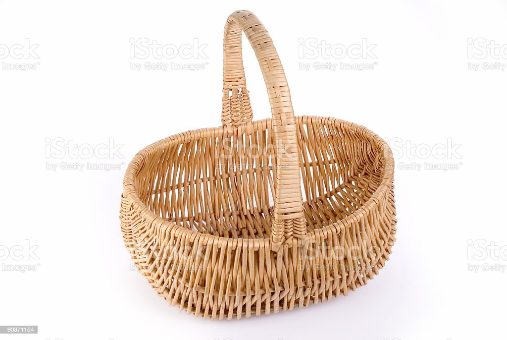 Wicker basket on white 1 stock photo