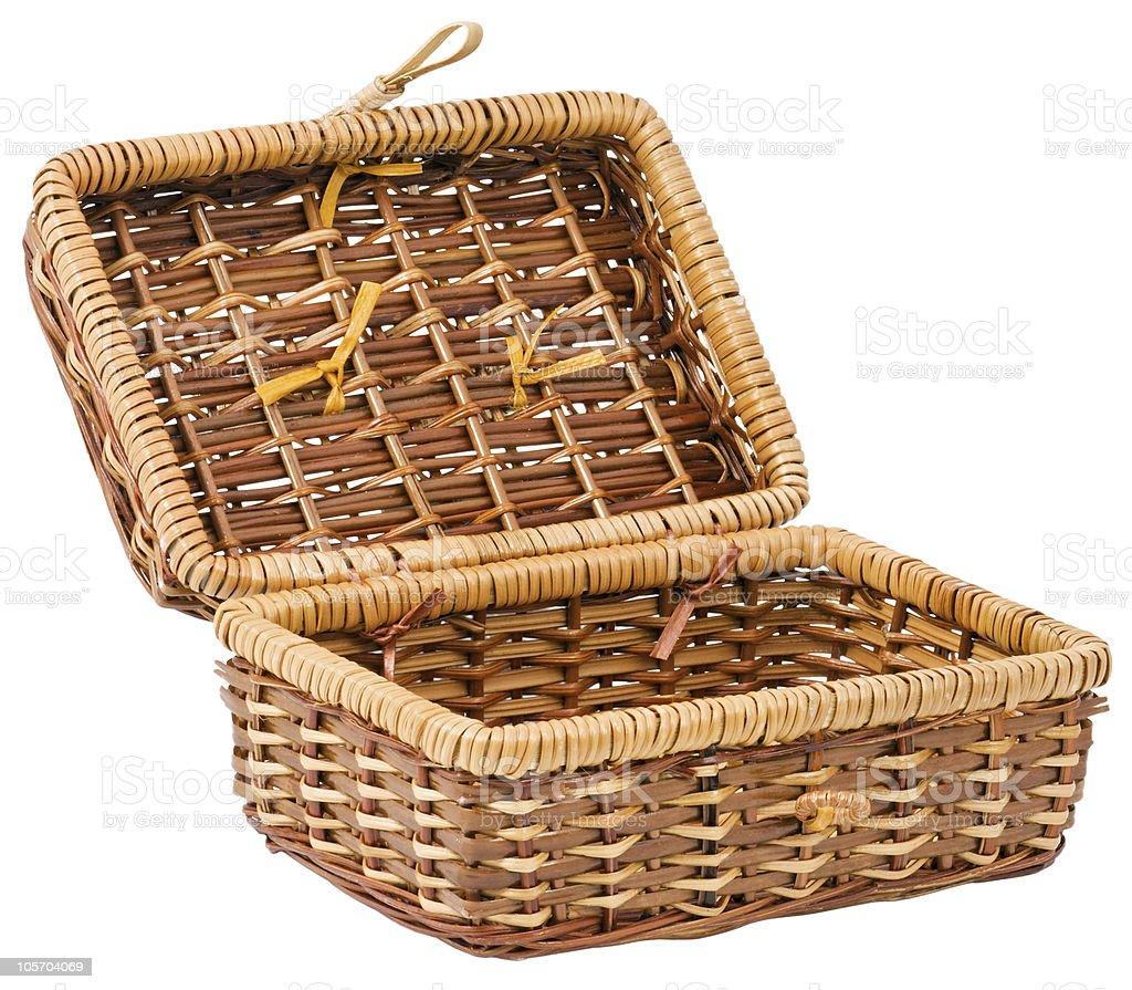 Wicker basket on white background royalty-free stock photo