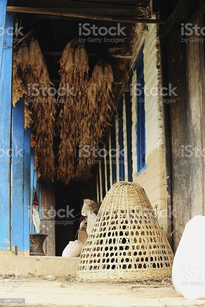 Wicker basket under corn cobs. Landruk-Nepal. 0573 royalty-free stock photo
