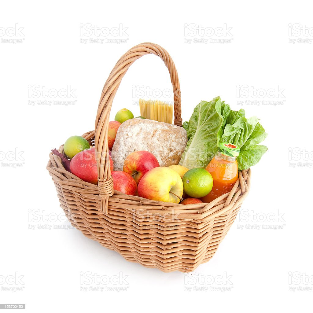 Wicker basket with food royalty-free stock photo