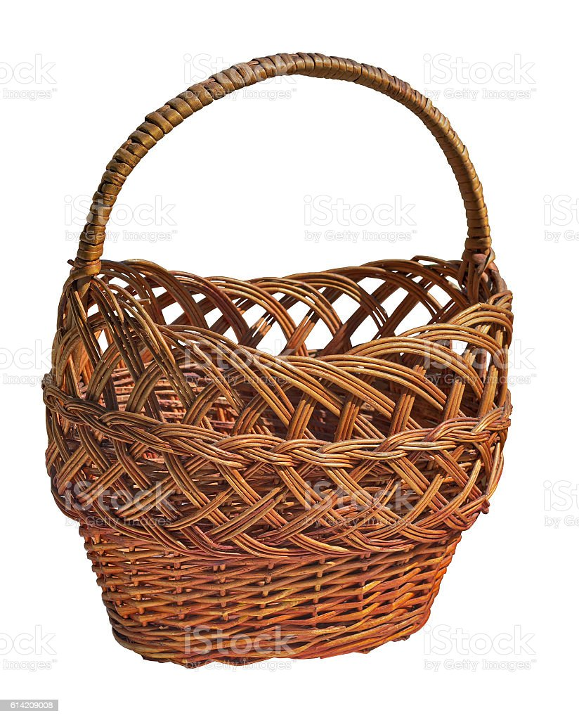 Wicker  basket with handle on a white background stock photo