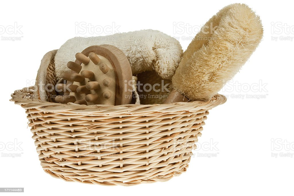 Wicker  basket with massage bath brushes royalty-free stock photo