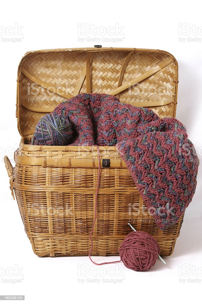 Wicker basket with yarn, crochet needle and project. royalty-free stock photo