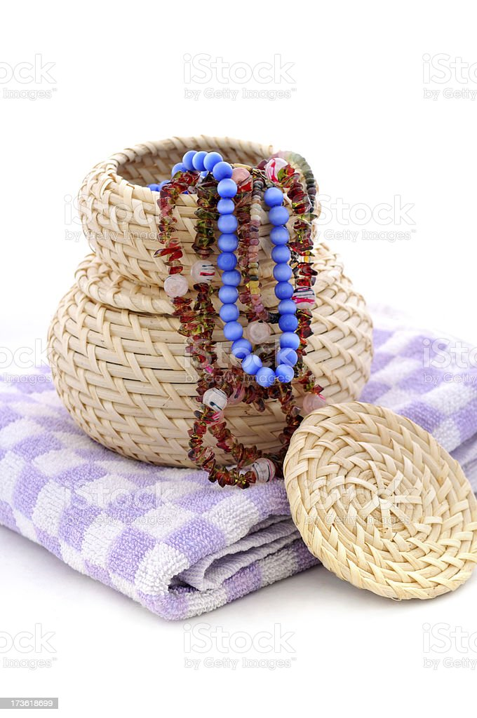 wicker baskets and purple towel royalty-free stock photo