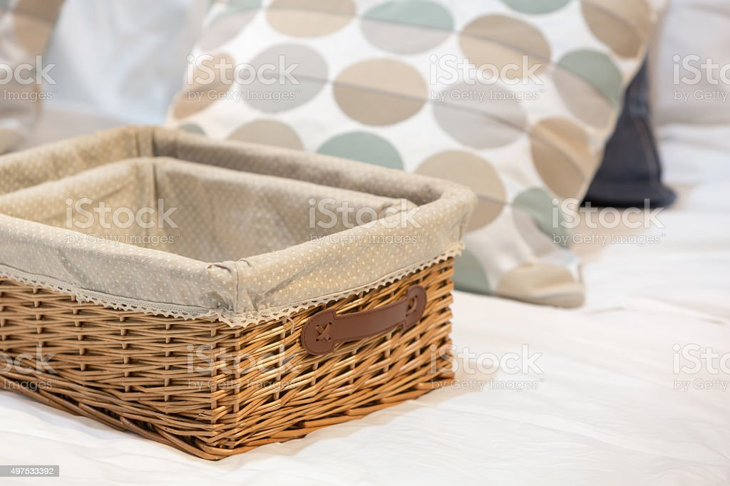 Wicker baskets in different size stock photo
