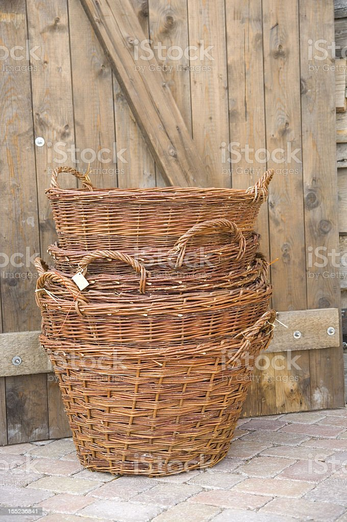 wicker baskets stock photo