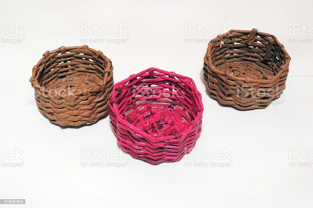 Wicker baskets with their hands stock photo