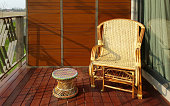 wicker chair on the balcony