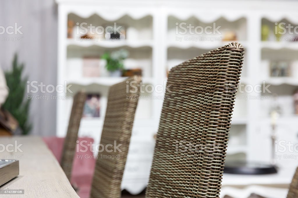 Wicker chairs in room stock photo