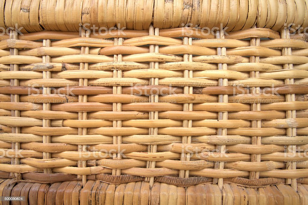 Wicker Close-Up Full Frame Background Texture in Beige-Yellow stock photo