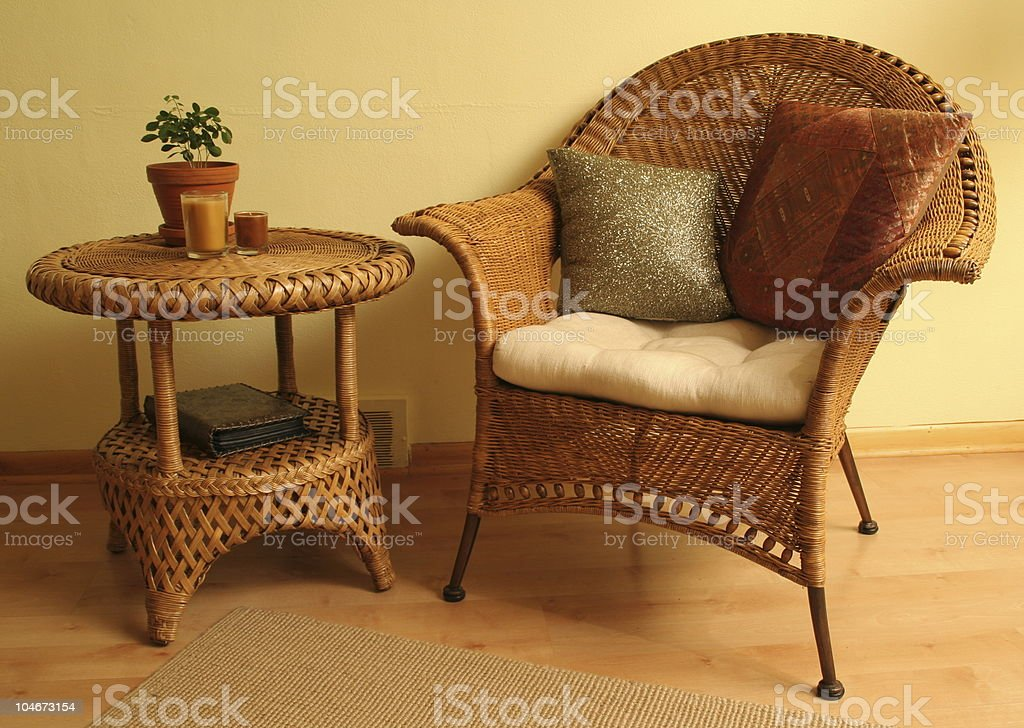 Wicker Furniture with accessories royalty-free stock photo