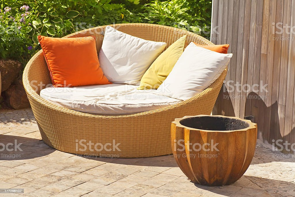 Wicker Garden Furniture royalty-free stock photo