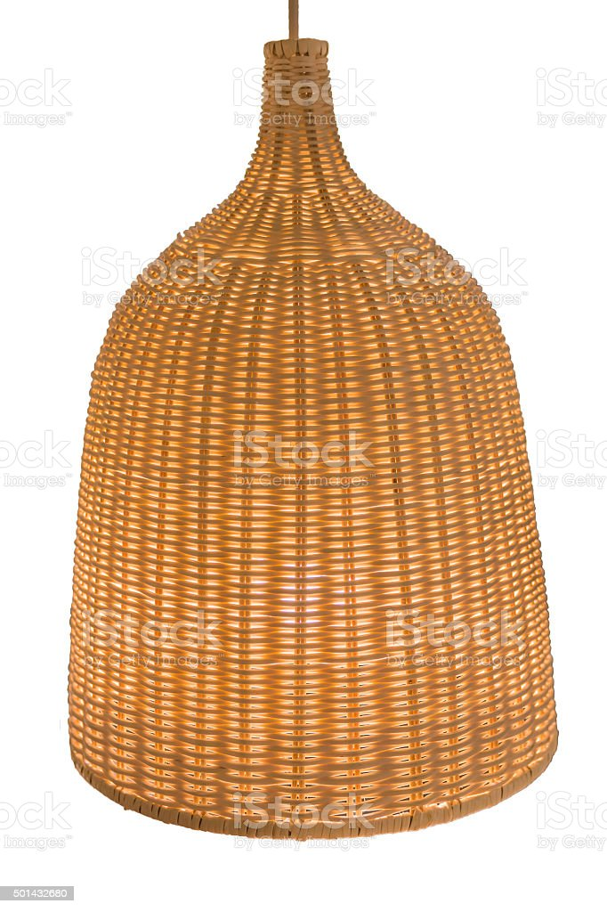 wicker lamp isolate on white background stock photo