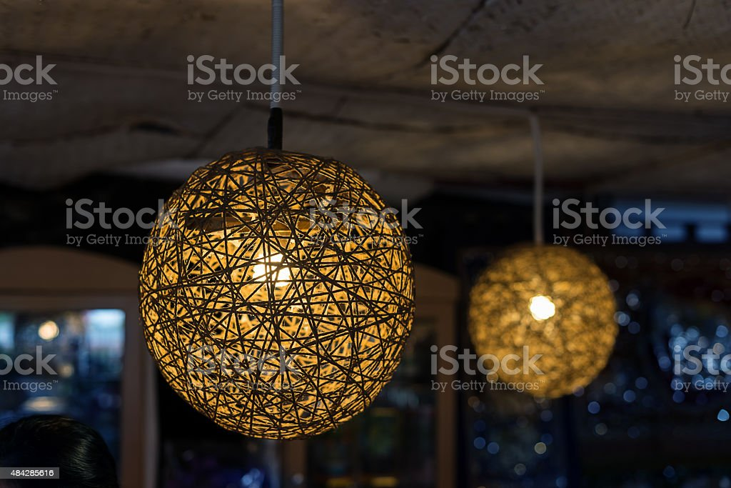wicker lamps stock photo