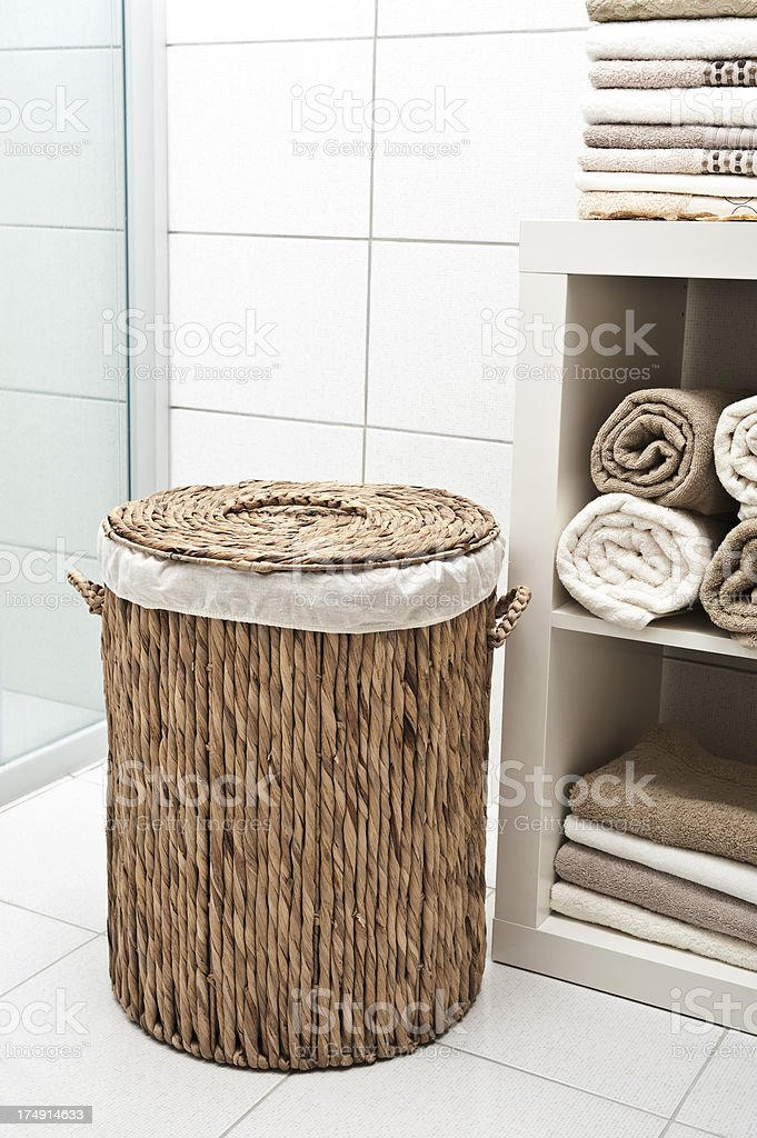 Wicker Laundry basket in the Bath royalty-free stock photo