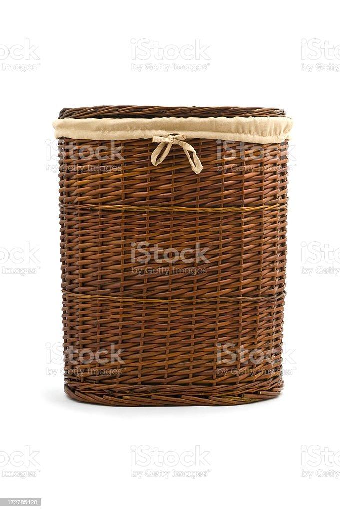 Wicker laundry basket stock photo